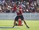 Jul 26, 2014; Houston, TX, USA; Houston Texans quarterback Ryan Fitzpatrick (14) throws a pass during training camp at Houston Methodist Training Center. Mandatory Credit: Troy Taormina-USA TODAY Sports