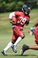 Jul 26, 2014; Atlanta, GA, USA; Atlanta Falcons running back Steven Jackson (39) runs with the football on the field during training camp at Falcons Training Complex. Mandatory Credit: Dale Zanine-USA TODAY Sports