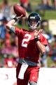 Jul 26, 2014; Atlanta, GA, USA; Atlanta Falcons quarterback Matt Ryan (2) passes on the field during training camp at Falcons Training Complex. Mandatory Credit: Dale Zanine-USA TODAY Sports