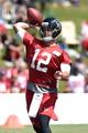 Jul 26, 2014; Atlanta, GA, USA; Atlanta Falcons quarterback Sean Renfree (12) passes on the field during training camp at Falcons Training Complex. Mandatory Credit: Dale Zanine-USA TODAY Sports