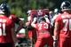 Jul 26, 2014; Atlanta, GA, USA; Atlanta Falcons tackle Ryan Schraeder (73) hits the blocking sled on the field during training camp at Falcons Training Complex. Mandatory Credit: Dale Zanine-USA TODAY Sports