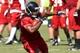 Jul 26, 2014; Atlanta, GA, USA; Atlanta Falcons running back Jacquizz Rodgers (32) runs with the ball on the field during training camp at Falcons Training Complex. Mandatory Credit: Dale Zanine-USA TODAY Sports