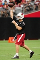 Jul 26, 2014; Tempe, AZ, USA; Arizona Cardinals quarterback Drew Stanton (5) throws during training camp at University of Phoenix. Mandatory Credit: Matt Kartozian-USA TODAY Sports