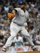 May 10, 2014; Milwaukee, WI, USA;  New York Yankees pitcher CC Sabathia (52) pitches in the first inning against the Milwaukee Brewers at Miller Park. Mandatory Credit: Benny Sieu-USA TODAY Sports