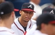 Jul 24, 2014; Atlanta, GA, USA; Atlanta Braves shortstop Andrelton Simmons (19) talks with teammates in the dugout during their game against the Miami Marlins at Turner Field. Mandatory Credit: Jason Getz-USA TODAY Sports