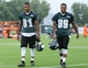 Jul 26, 2014; Philadelphia, PA, USA; Philadelphia Eagles wide receiver Jordan Matthews (81) and wide receiver B.J. Cunningham (89)  walk off the field after practice at training camp at the Novacare Complex in Philadelphia PA. Mandatory Credit: Bill Streicher-USA TODAY Sports