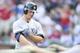 Jul 30, 2014; Arlington, TX, USA; New York Yankees left fielder Brett Gardner (11) smiles after hitting a home run in the first inning against the Texas Rangers at Globe Life Park in Arlington. Mandatory Credit: Tim Heitman-USA TODAY Sports