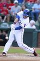 Jul 30, 2014; Arlington, TX, USA; Texas Rangers designated hitter Shin-Soo Choo (17) hits a single in the first inning against the New York Yankees at Globe Life Park in Arlington. Mandatory Credit: Tim Heitman-USA TODAY Sports