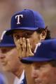 Jul 30, 2014; Arlington, TX, USA; Texas Rangers starting pitcher Yu Darvish (11) watches the game against the New York Yankees at Globe Life Park in Arlington.  Texas beat New York 3-2. Mandatory Credit: Tim Heitman-USA TODAY Sports