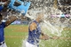 Jul 30, 2014; Los Angeles, CA, USA; Los Angeles Dodgers right fielder Matt Kemp is doused by a cooler of water by center fielder Yasiel Puig after hitting a walk-off single in the 10th inning against the Atlanta Braves at Dodger Stadium. The Dodgers defeated the Braves 2-1 in 10 innings. Mandatory Credit: Kirby Lee-USA TODAY Sports