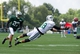 Aug 4, 2014; Cortland, NY, USA; New York Jets wide receiver Michael Campbell (18) dives to make a catch in front of cornerback Dee Milliner (27) during training camp at SUNY Cortland. Mandatory Credit: Rich Barnes-USA TODAY Sports