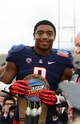 Dec. 15, 2012; Albuquerque, NM, USA; Arizona Wildcats linebacker Marquis Flowers (2) celebrates with the defensive player of the game award after defeating the Nevada Wolf Pack in the 2012 New Mexico Bowl at University Stadium. Arizona defeated Nevada 49-48. Mandatory Credit: Mark J. Rebilas-USA TODAY Sports