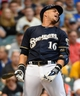 Aug 5, 2014; Milwaukee, WI, USA;  Milwaukee Brewers third baseman Aramis Ramirez (16) reacts after being called out on strikes in the second inning against the San Francisco Giants at Miller Park. Mandatory Credit: Benny Sieu-USA TODAY Sports