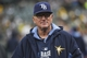 August 5, 2014; Oakland, CA, USA; Tampa Bay Rays manager Joe Maddon (70) watches from the dugout against the Oakland Athletics during the first inning at O.co Coliseum. Mandatory Credit: Kyle Terada-USA TODAY Sports
