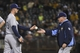 August 5, 2014; Oakland, CA, USA; Tampa Bay Rays manager Joe Maddon (70, right) removes starting pitcher Drew Smyly (33, left) from the game against the Oakland Athletics during the sixth inning at O.co Coliseum. Mandatory Credit: Kyle Terada-USA TODAY Sports