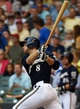 Aug 7, 2014; Milwaukee, WI, USA;  Milwaukee Brewers right fielder Ryan Braun (8) hits a double to drive in a run in the first inning against the San Francisco Giants at Miller Park. Mandatory Credit: Benny Sieu-USA TODAY Sports