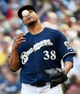 Aug 7, 2014; Milwaukee, WI, USA;  Milwaukee Brewers pitcher Wily Peralta (38) plays with the ball between pitches in the sixth inning during the game against the San Francisco Giants at Miller Park. Peralta pitched 6+ innings giving up one run as the Brewers beat the Giants 3-1. Mandatory Credit: Benny Sieu-USA TODAY Sports