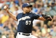 Aug 7, 2014; Milwaukee, WI, USA;  Milwaukee Brewers pitcher Francisco Rodriguez (57) pitches in the ninth inning to earn a save against the San Francisco Giants at Miller Park. The Brewers beat the Giants 3-1. Mandatory Credit: Benny Sieu-USA TODAY Sports