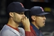 Aug 7, 2014; St. Louis, MO, USA;  Boston Red Sox starting pitcher Joe Kelly (56) and left fielder Allen Craig (5) sit in the dugout during the game between the St. Louis Cardinals and the Boston Red Sox at Busch Stadium. Mandatory Credit: Jasen Vinlove-USA TODAY Sports