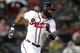Aug 8, 2014; Atlanta, GA, USA; Atlanta Braves right fielder Jason Heyward (22) hits a double against the Washington Nationals in the fifth inning at Turner Field. Mandatory Credit: Brett Davis-USA TODAY Sports