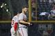 Aug 8, 2014; Atlanta, GA, USA; Washington Nationals left fielder Bryce Harper (34) walks to the outfield before a rain delay against the Atlanta Braves in the sixth inning at Turner Field. Mandatory Credit: Brett Davis-USA TODAY Sports