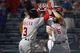 Aug 8, 2014; Atlanta, GA, USA; Washington Nationals third baseman Anthony Rendon (6) celebrates a home run with second baseman Asdrubal Cabrera (3) against the Atlanta Braves in the sixth inning at Turner Field. Mandatory Credit: Brett Davis-USA TODAY Sports