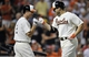 Aug 8, 2014; Baltimore, MD, USA; Baltimore Orioles first baseman Chris Davis (19) celebrates with J.J. Hardy (2) after hitting a solo home run in the sixth inning against the St. Louis Cardinals at Oriole Park at Camden Yards. The Orioles won 12-2. Mandatory Credit: Joy R. Absalon-USA TODAY Sports