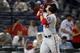 Aug 8, 2014; Atlanta, GA, USA; Washington Nationals catcher Wilson Ramos (40) celebrates a home run against the Atlanta Braves in the seventh inning at Turner Field. Mandatory Credit: Brett Davis-USA TODAY Sports