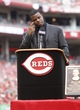 Aug 9, 2014; Cincinnati, OH, USA; Cincinnati Reds former outfielder Ken Griffey Jr. speaks after being inducted into the Reds Hall of Fame at Great American Ball Park. Mandatory Credit: David Kohl-USA TODAY Sports