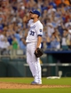 Aug 9, 2014; Kansas City, MO, USA; Kansas City Royals starting pitcher James Shields (33) gives a salute towards left field after pitching a complete game shutout against the San Francisco Giants at Kauffman Stadium. The Royals won 5-0. Mandatory Credit: Denny Medley-USA TODAY Sports