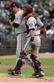 Aug 9, 2014; Oakland, CA, USA; Minnesota Twins catcher Eric Fryer (26) right talks with starting pitcher Trevor May (65) in the first inning of their MLB baseball game with the Oakland Athletics at O.co Coliseum. Mandatory Credit: Lance Iversen-USA TODAY Sports