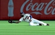 Aug 9, 2014; Atlanta, GA, USA; Atlanta Braves right fielder Jason Heyward (22) makes a diving catch on a ball hit by Washington Nationals third baseman Anthony Rendon (not pictured) during the first inning at Turner Field. Mandatory Credit: Dale Zanine-USA TODAY Sports
