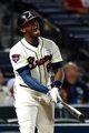 Aug 9, 2014; Atlanta, GA, USA; Atlanta Braves left fielder Justin Upton (8) reacts after hitting a fly out against the Washington Nationals during the tenth inning at Turner Field. Mandatory Credit: Dale Zanine-USA TODAY Sports