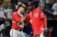 Aug 9, 2014; Atlanta, GA, USA; Washington Nationals catcher Wilson Ramos (40) and relief pitcher Rafael Soriano (29) reacts after defeating the Atlanta Braves at Turner Field. The Nationals defeated the Braves 4-1 in eleven innings. Mandatory Credit: Dale Zanine-USA TODAY Sports