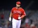 August 9, 2014; Anaheim, CA, USA; Los Angeles Angels first baseman Albert Pujols (5) runs the bases after he hits a solo home run in the nineteenth inning against the Boston Red Sox at Angel Stadium of Anaheim. Mandatory Credit: Gary A. Vasquez-USA TODAY Sports