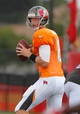 Jul 28, 2014; Tampa, FL, USA; Tampa Bay Buccaneers quarterback Mike Glennon (8) drops back during training camp at One Buc Place. Mandatory Credit: Kim Klement-USA TODAY Sports