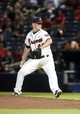 Aug 10, 2014; Atlanta, GA, USA; Atlanta Braves relief pitcher Craig Kimbrel (46) delivers a pitch to a Washington Nationals batter in the ninth inning of their game at Turner Field. The Braves won 3-1. Mandatory Credit: Jason Getz-USA TODAY Sports