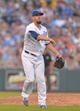 Aug 9, 2014; Kansas City, MO, USA; Kansas City Royals starting pitcher James Shields (33) fields a ground ball and throws to first base in the seventh inning against the San Francisco Giants at Kauffman Stadium. The Royals won 5-0. Mandatory Credit: Denny Medley-USA TODAY Sports