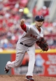 Aug 12, 2014; Cincinnati, OH, USA; Boston Red Sox starting pitcher Joe Kelly (56) pitches during the first inning against the Cincinnati Reds at Great American Ball Park. Mandatory Credit: Frank Victores-USA TODAY Sports