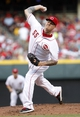 Aug 12, 2014; Cincinnati, OH, USA; Cincinnati Reds starting pitcher Mat Latos (55) pitches during the second inning against the Boston Red Sox at Great American Ball Park. Mandatory Credit: Frank Victores-USA TODAY Sports