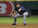 Aug 12, 2014; Houston, TX, USA; Minnesota Twins first baseman Joe Mauer (7) fields a ground ball during the third inning against the Houston Astros at Minute Maid Park. Mandatory Credit: Troy Taormina-USA TODAY Sports