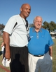 Aug 12, 2014; Oxnard, CA, USA; Los Angeles Raiders former defensive end Greg Townsend (left) and Los Angeles Dodgers former manager Tommy Lasorda pose at at River Ridge Fields. Mandatory Credit: Kirby Lee-USA TODAY Sports
