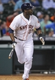 Aug 12, 2014; Houston, TX, USA; Houston Astros designated hitter Chris Carter (23) hits a home run during the fifth inning against the Minnesota Twins at Minute Maid Park. Mandatory Credit: Troy Taormina-USA TODAY Sports