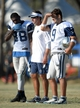 Aug 12, 2014; Oxnard, CA, USA; Dallas Cowboys receiver Dez Bryant (88), receivers coach Derek Dooley (center) and quarterback Tony Romo (9) at scrimmage against the Oakland Raiders at River Ridge Fields. Mandatory Credit: Kirby Lee-USA TODAY Sports