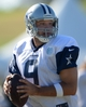 Aug 12, 2014; Oxnard, CA, USA; Dallas Cowboys quarterback Tony Romo (9) throws a pass at scrimmage against the Oakland Raiders at River Ridge Fields. Mandatory Credit: Kirby Lee-USA TODAY Sports