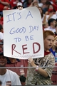 Aug 12, 2014; Cincinnati, OH, USA; A Cincinnati Reds fan holds up a sign during the third inning against the Boston Red Sox at Great American Ball Park. Mandatory Credit: Frank Victores-USA TODAY Sports
