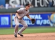 Aug 10, 2014; Kansas City, MO, USA; San Francisco Giants shortstop Matt Duffy (50) gets set on defense against the Kansas City Royals during the first inning at Kauffman Stadium. Mandatory Credit: Peter G. Aiken-USA TODAY Sports