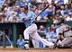 Aug 10, 2014; Kansas City, MO, USA; Kansas City Royals catcher Salvador Perez (13) at bat against the San Francisco Giants during the second inning at Kauffman Stadium. Mandatory Credit: Peter G. Aiken-USA TODAY Sports