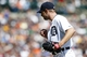 Aug 14, 2014; Detroit, MI, USA; Detroit Tigers starting pitcher Max Scherzer (37) reacts after the last out in the eighth inning against the Pittsburgh Pirates at Comerica Park. Mandatory Credit: Rick Osentoski-USA TODAY Sports