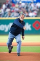 Aug 15, 2014; Cleveland, OH, USA; Cleveland Indians former pitcher Doug Jones throws out the ceremonial first pitch before the game between the Cleveland Indians and the Baltimore Orioles at Progressive Field. Mandatory Credit: Ken Blaze-USA TODAY Sports